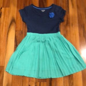 Cherokee Dress Navy Top with green pleated bottom.